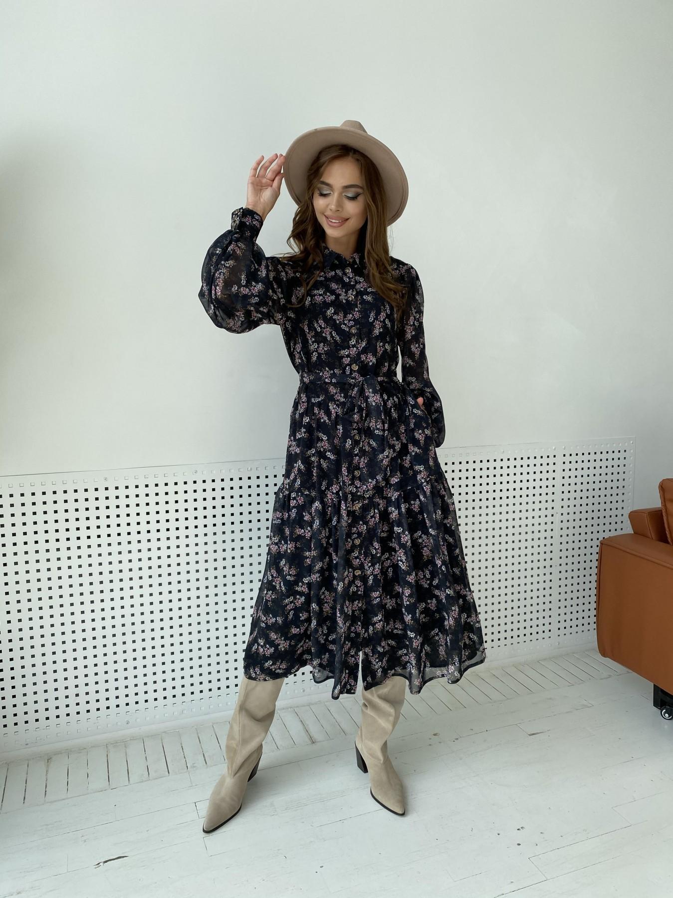 Патессери платье из шифона с цветочным принтом 11750 АРТ. 48547 Цвет: Черный/ЦветыМелБукет - фото 4, интернет магазин tm-modus.ru