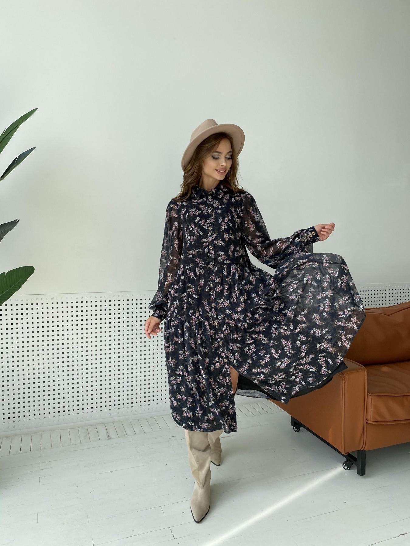 Патессери платье из шифона с цветочным принтом 11750 АРТ. 48547 Цвет: Черный/ЦветыМелБукет - фото 6, интернет магазин tm-modus.ru