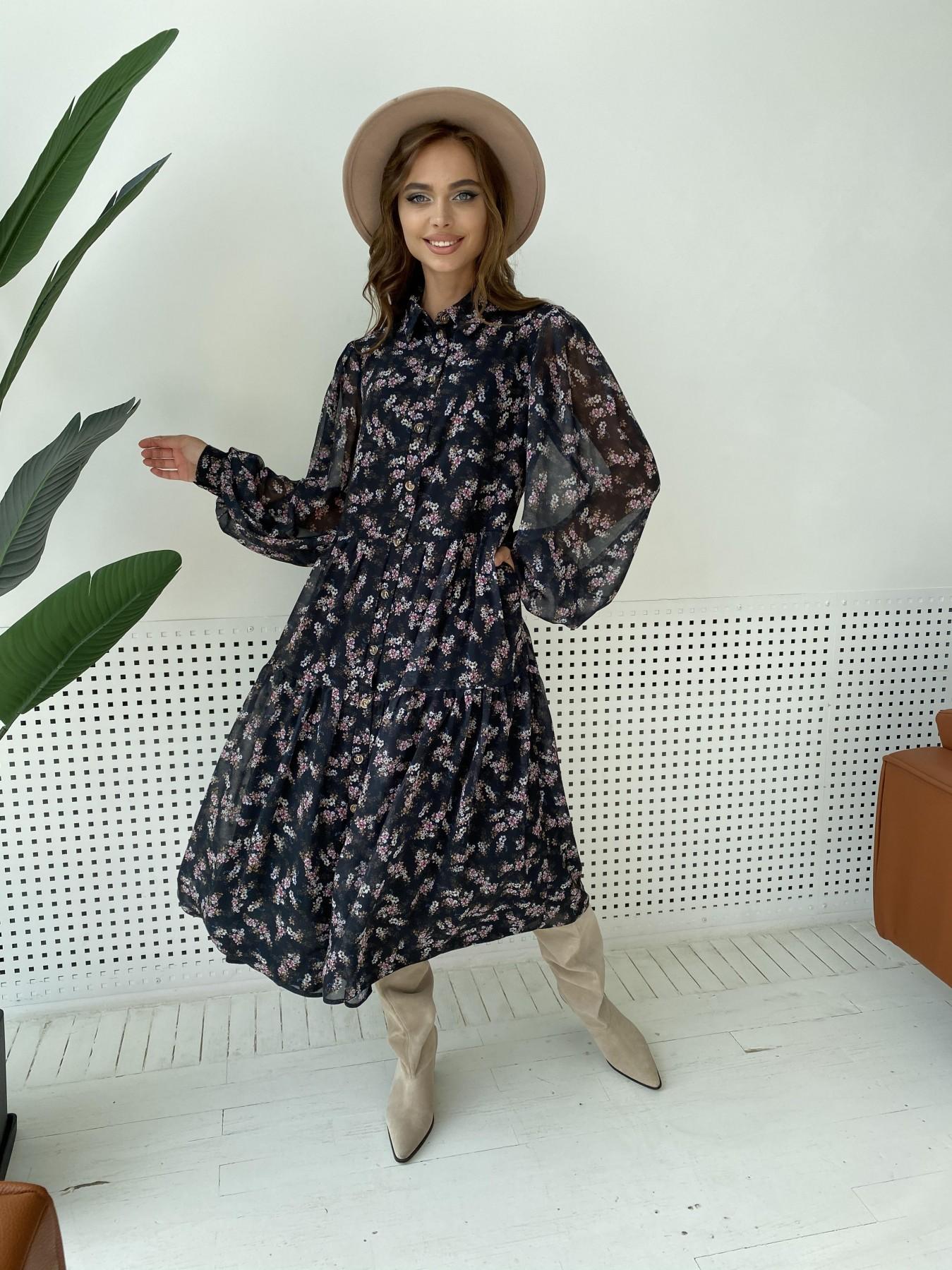 Патессери платье из шифона с цветочным принтом 11750 АРТ. 48547 Цвет: Черный/ЦветыМелБукет - фото 8, интернет магазин tm-modus.ru