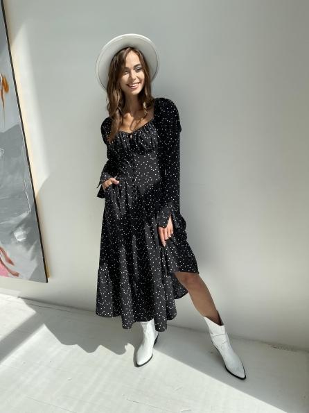 """Купити """"Лакоми"""" платье миди в горох с длинным рукавом 11819 оптом і в роздріб"""