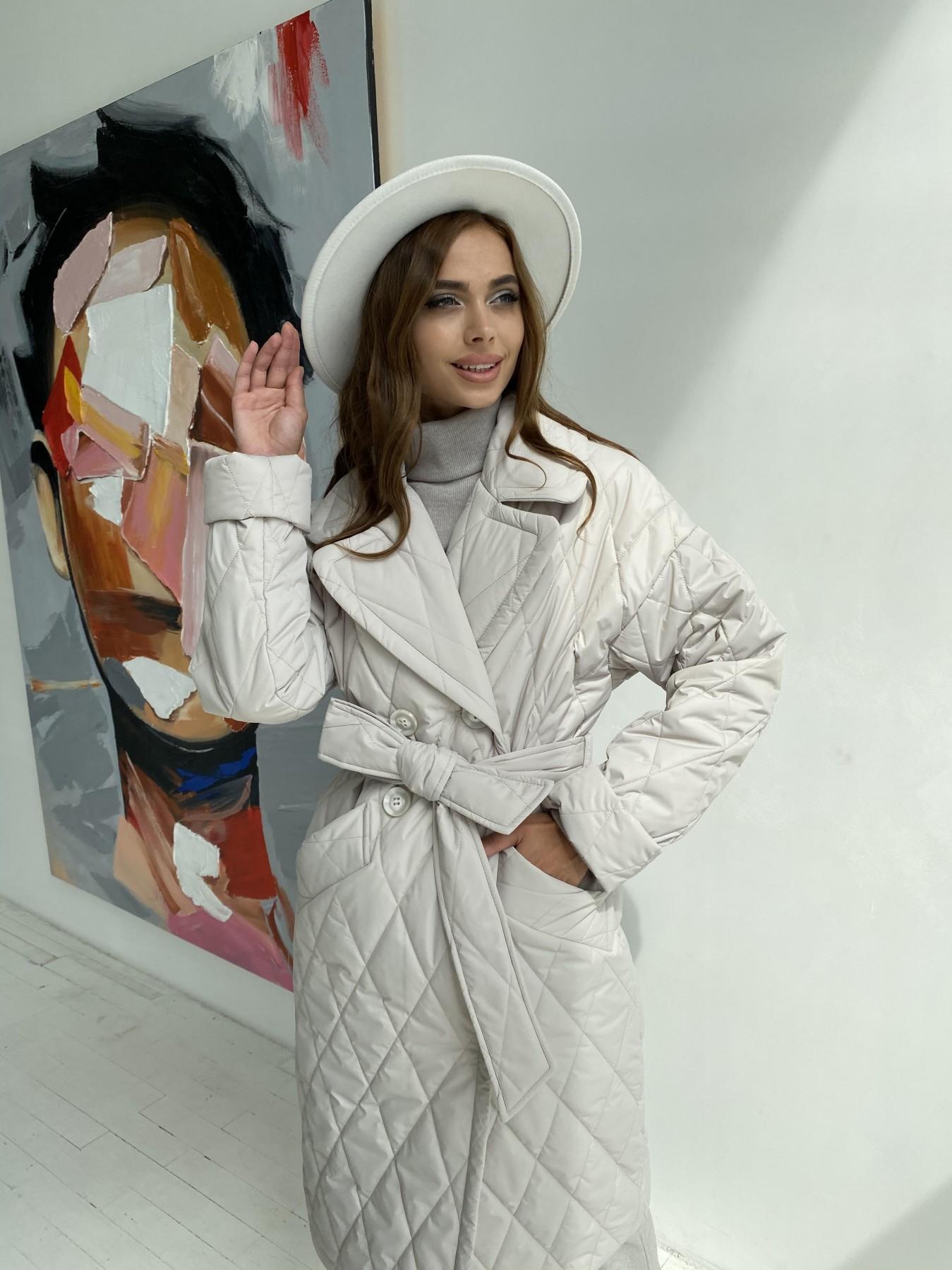 Хаски пальто из стеганой плащевки в ромб 11697 АРТ. 48513 Цвет: Бежевый 971 - фото 2, интернет магазин tm-modus.ru