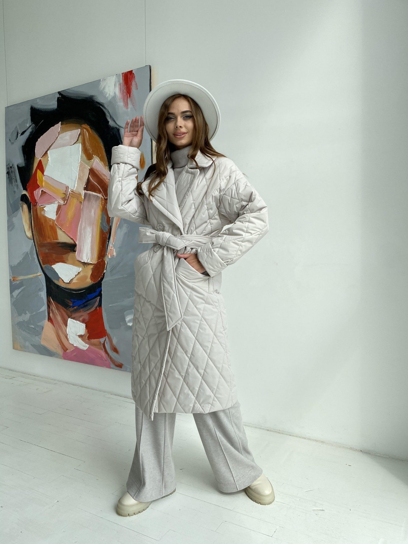 Купить пальто оптом от Modus Хаски пальто из стеганой плащевки в ромб 11697