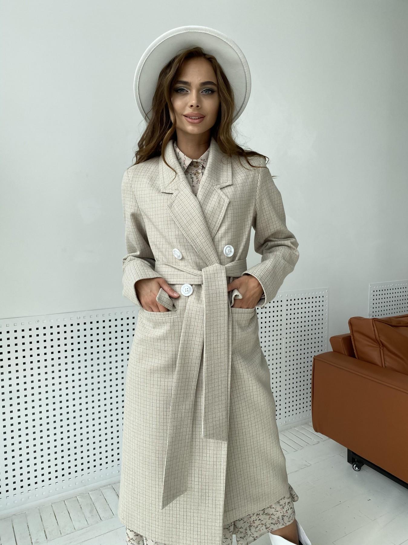 Статус пальто из тонкого кашемира в клетку 11780 АРТ. 48520 Цвет: Бежевый/молоко/КлетМел - фото 2, интернет магазин tm-modus.ru