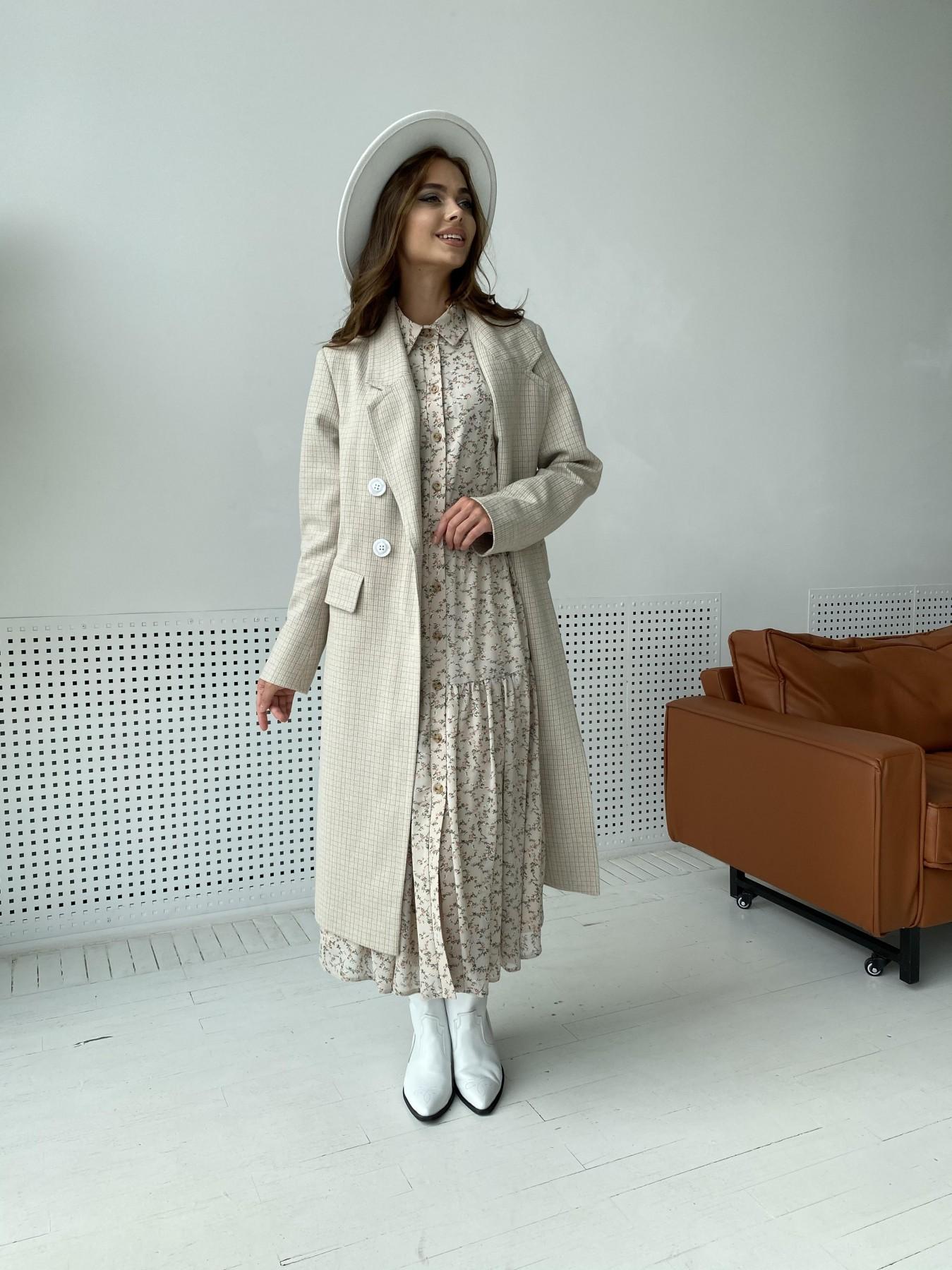 Статус пальто из тонкого кашемира в клетку 11780 АРТ. 48520 Цвет: Бежевый/молоко/КлетМел - фото 3, интернет магазин tm-modus.ru