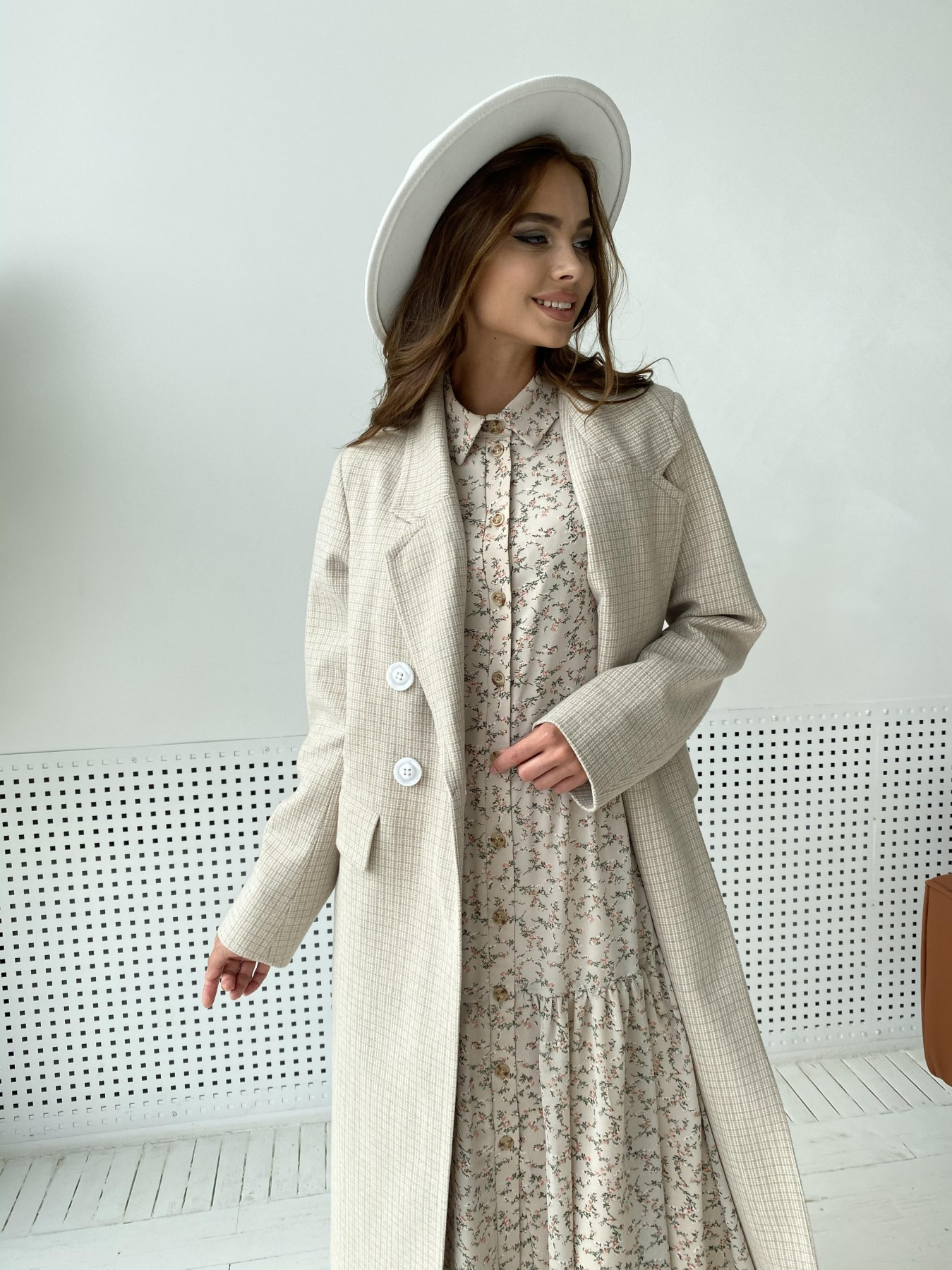 Женское пальто от производителя от Modus Статус пальто из тонкого кашемира в клетку 11780