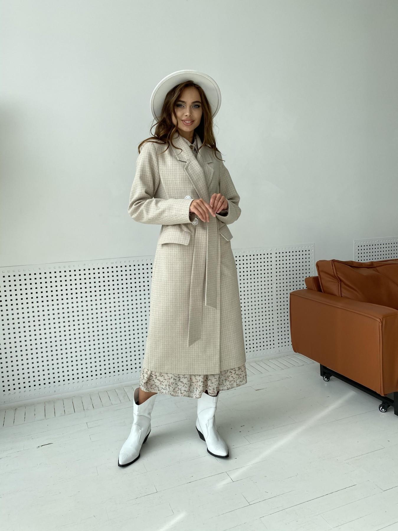Статус пальто из тонкого кашемира в клетку 11780 АРТ. 48520 Цвет: Бежевый/молоко/КлетМел - фото 6, интернет магазин tm-modus.ru