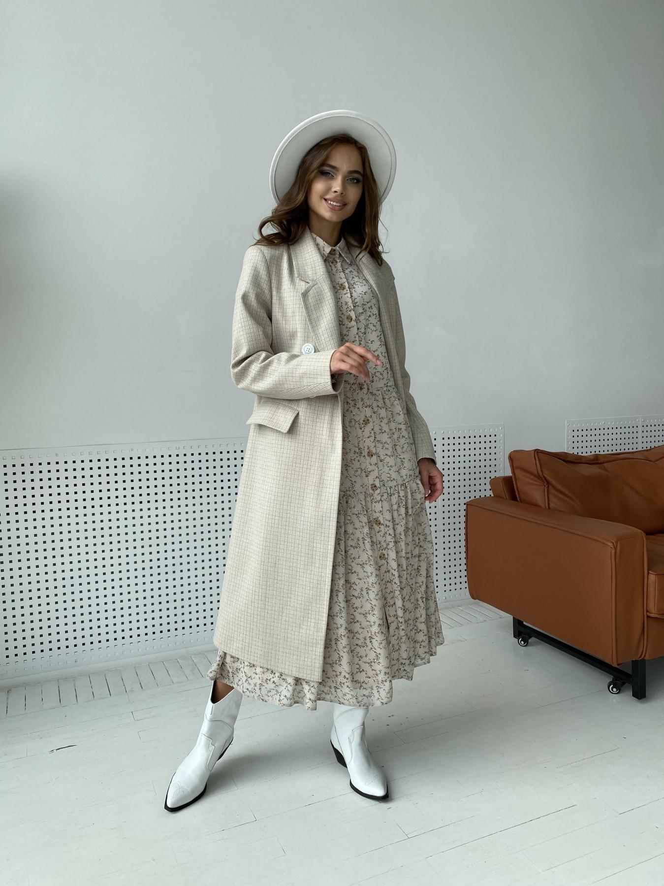 Статус пальто из тонкого кашемира в клетку 11780 АРТ. 48520 Цвет: Бежевый/молоко/КлетМел - фото 7, интернет магазин tm-modus.ru