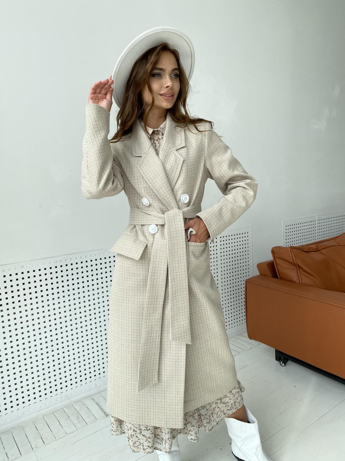 Статус пальто из тонкого кашемира в клетку 11780 АРТ. 48520 Цвет: Бежевый/молоко/КлетМел - фото 8, интернет магазин tm-modus.ru