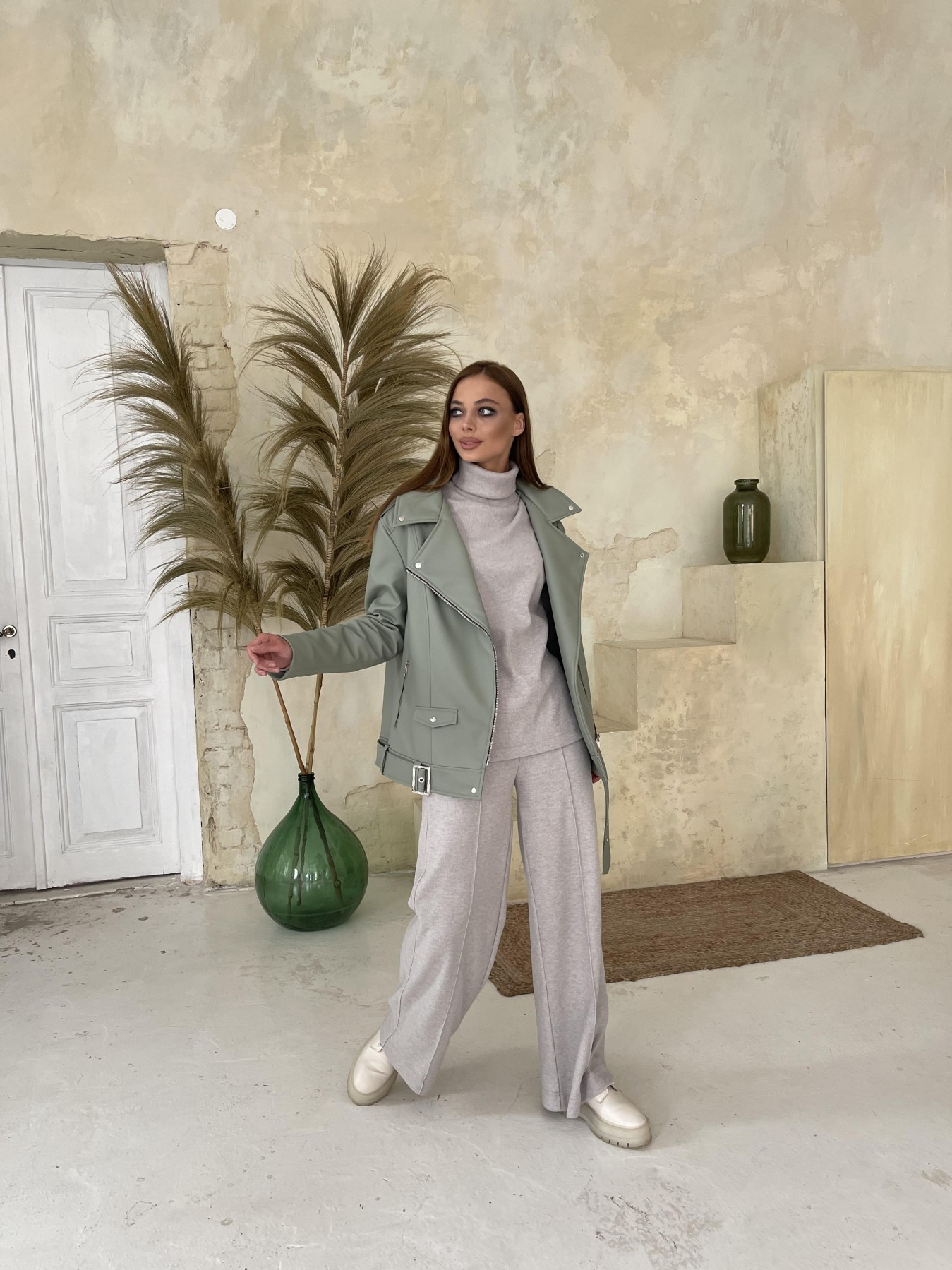 Босс Утепленная куртка из эко-кожи 11772 АРТ. 48578 Цвет: Олива - фото 8, интернет магазин tm-modus.ru