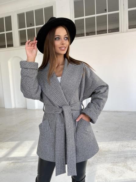 """Купить """"Дефиле"""" утепленное пальто из кашемира в мелкую клетку 11805 оптом и в розницу"""