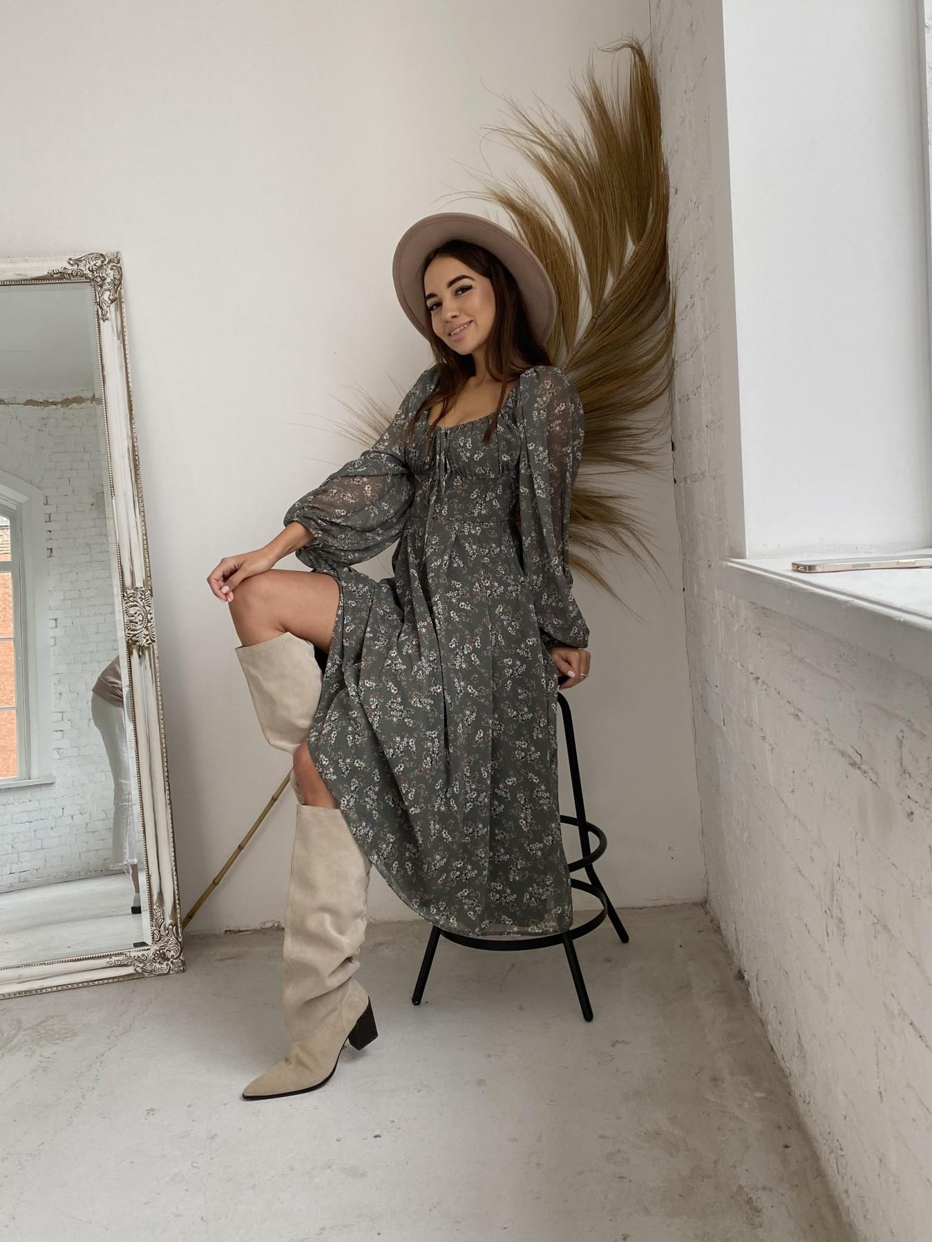 Кисес платье из шифона с цветочным принтом 11774 АРТ. 48625 Цвет: Зеленый/МолокоЦветыНаВетке - фото 1, интернет магазин tm-modus.ru