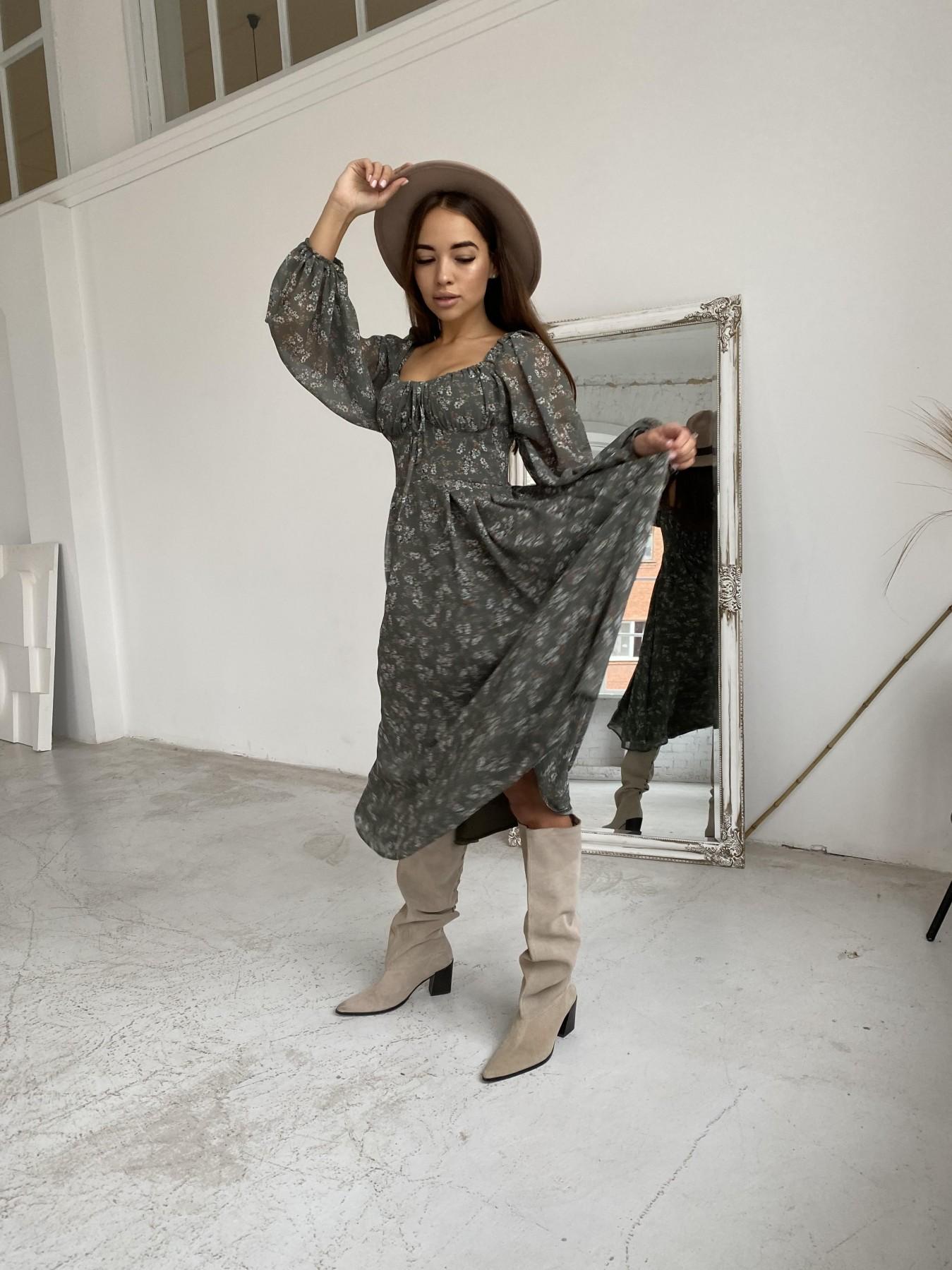 Кисес платье из шифона с цветочным принтом 11774 АРТ. 48625 Цвет: Зеленый/МолокоЦветыНаВетке - фото 2, интернет магазин tm-modus.ru