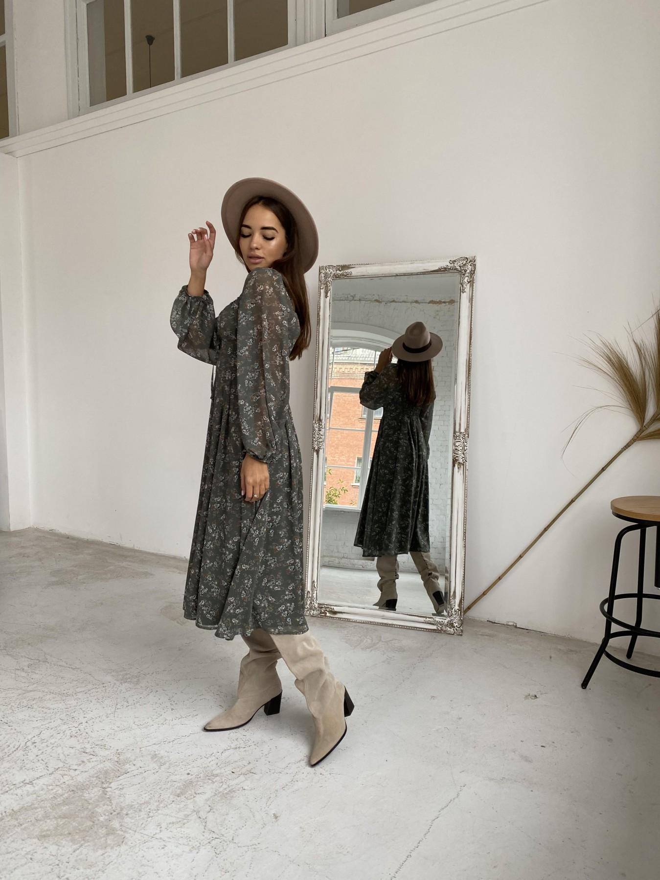 Кисес платье из шифона с цветочным принтом 11774 АРТ. 48625 Цвет: Зеленый/МолокоЦветыНаВетке - фото 3, интернет магазин tm-modus.ru