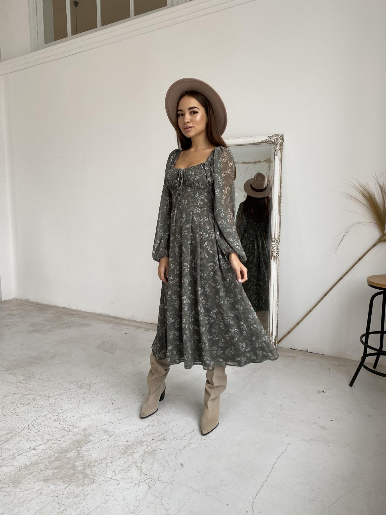 Кисес платье из шифона с цветочным принтом 11774 АРТ. 48625 Цвет: Зеленый/МолокоЦветыНаВетке - фото 4, интернет магазин tm-modus.ru