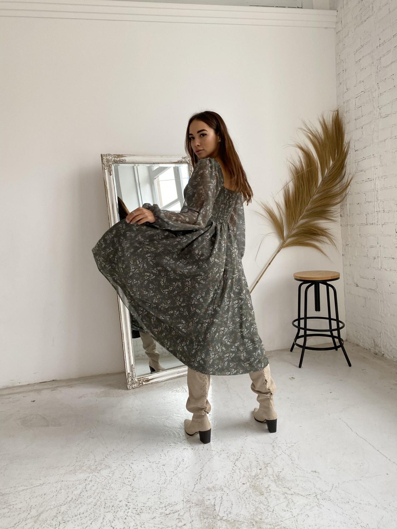 Кисес платье из шифона с цветочным принтом 11774 АРТ. 48625 Цвет: Зеленый/МолокоЦветыНаВетке - фото 5, интернет магазин tm-modus.ru
