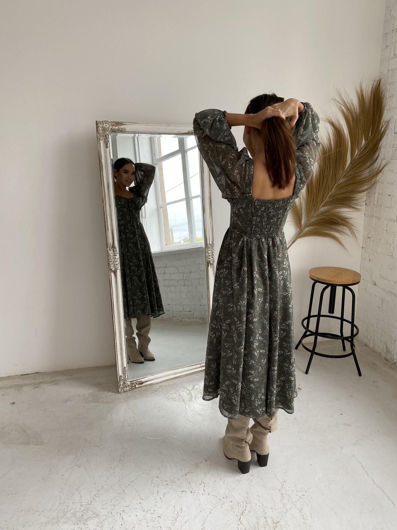 Кисес платье из шифона с цветочным принтом 11774 АРТ. 48625 Цвет: Зеленый/МолокоЦветыНаВетке - фото 6, интернет магазин tm-modus.ru