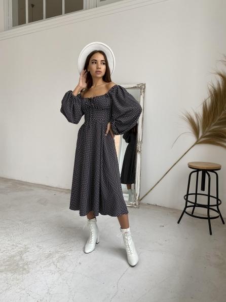"""Купить """"Кисес"""" платье миди из ткани софт с длинным рукавом 11732 оптом и в розницу"""