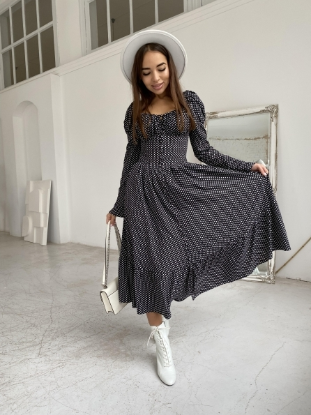 """Купить """"Лакоми"""" платье миди в горох с длинным рукавом 11819 оптом и в розницу"""
