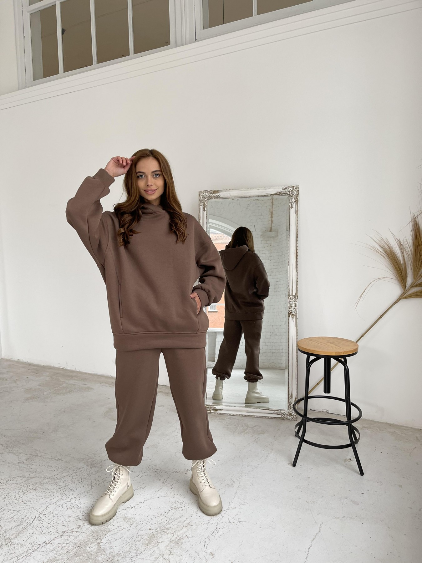 Марион утепленный костюм из трехнити 11852 АРТ. 48656 Цвет: Шоколад - фото 3, интернет магазин tm-modus.ru