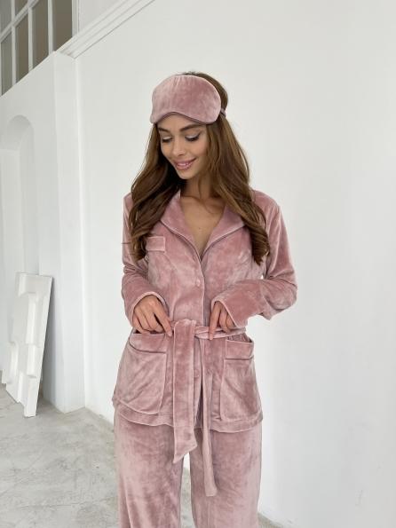 """Купить """"Шайн"""" пижама велюр жакет брюки маска для сна 10353 оптом и в розницу"""