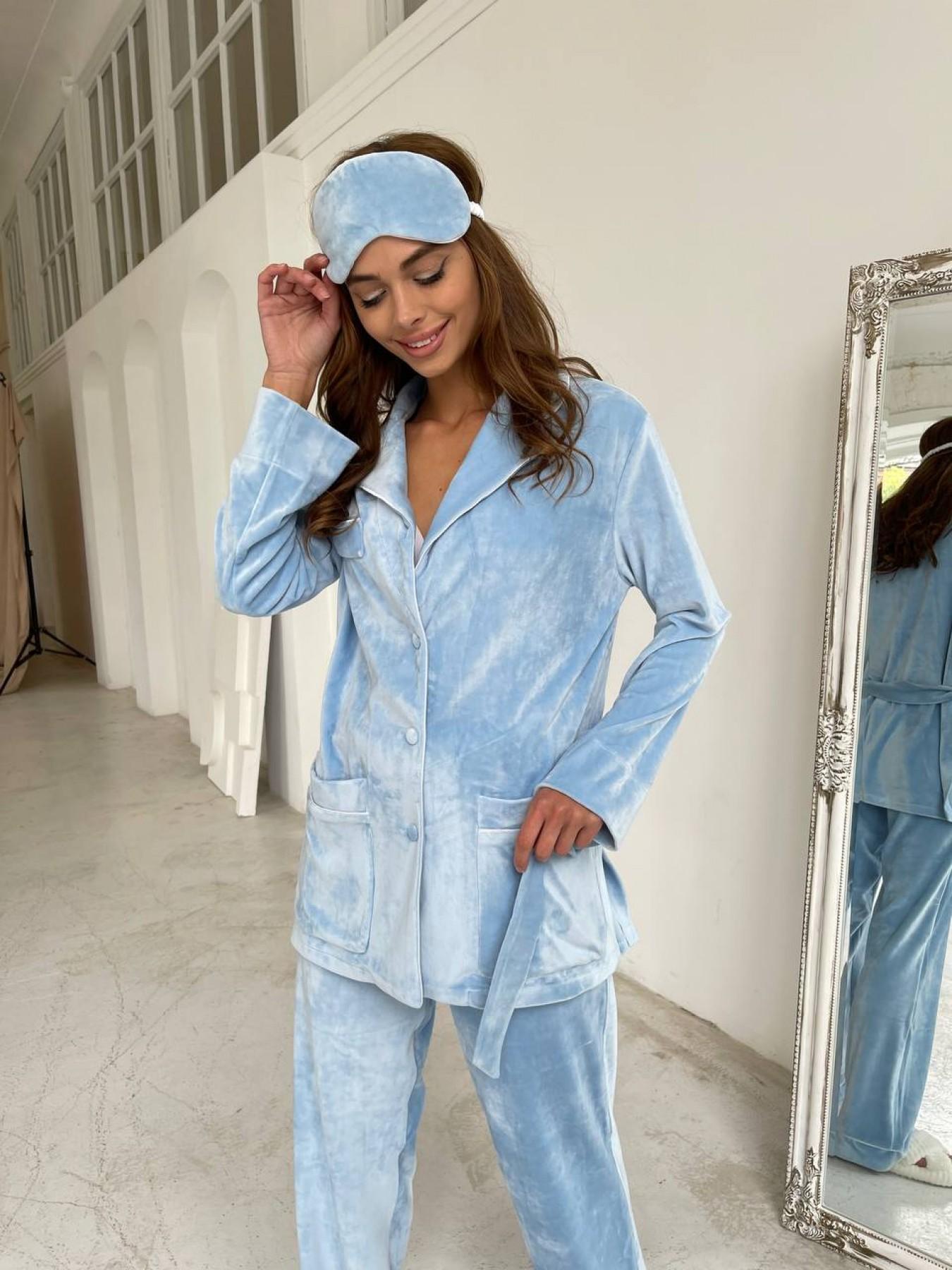 Женская одежда оптом от производителя Шайн пижама велюр жакет брюки маска для сна 10353