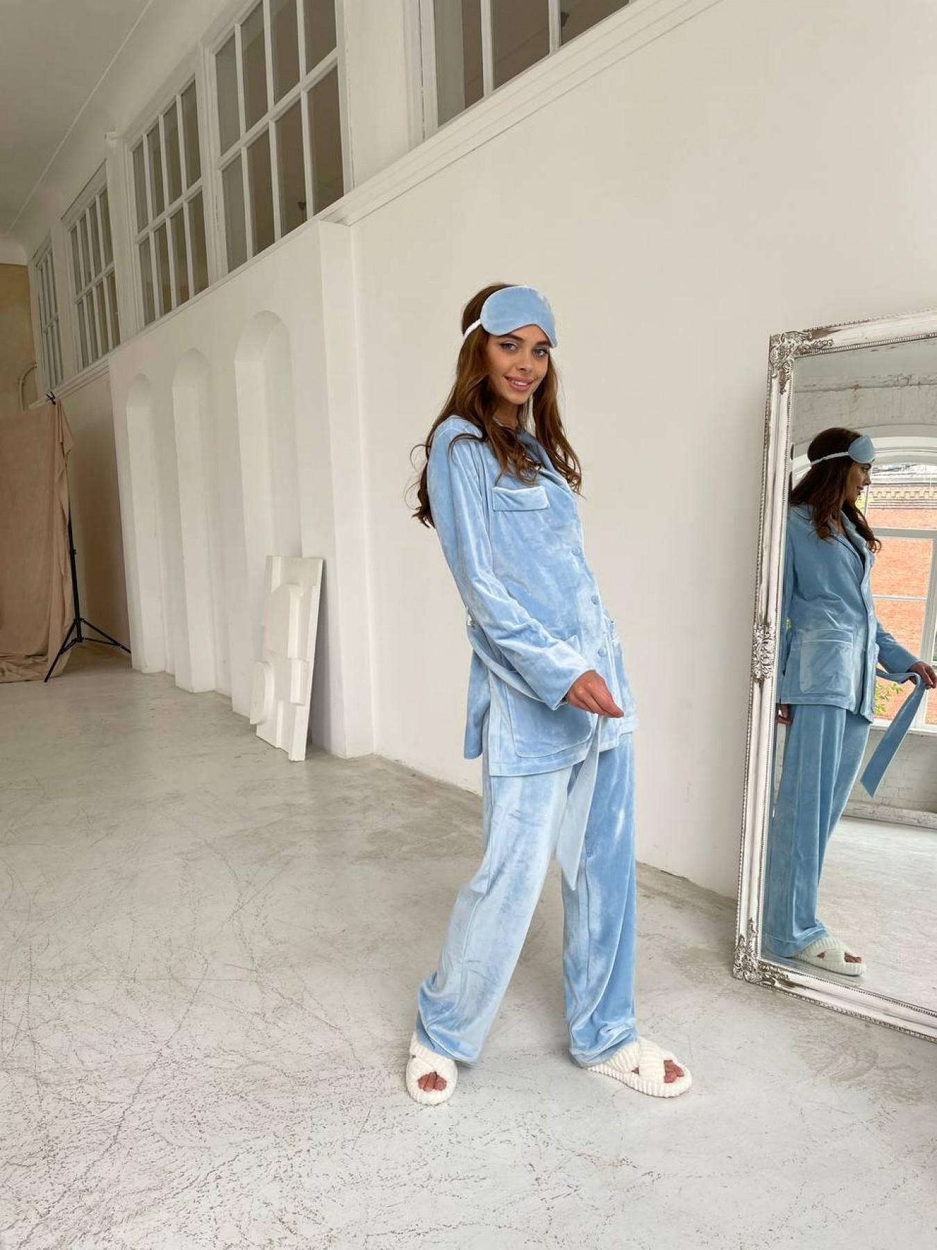 Шайн пижама велюр жакет брюки маска для сна 10353 АРТ. 46717 Цвет: Голубой - фото 2, интернет магазин tm-modus.ru