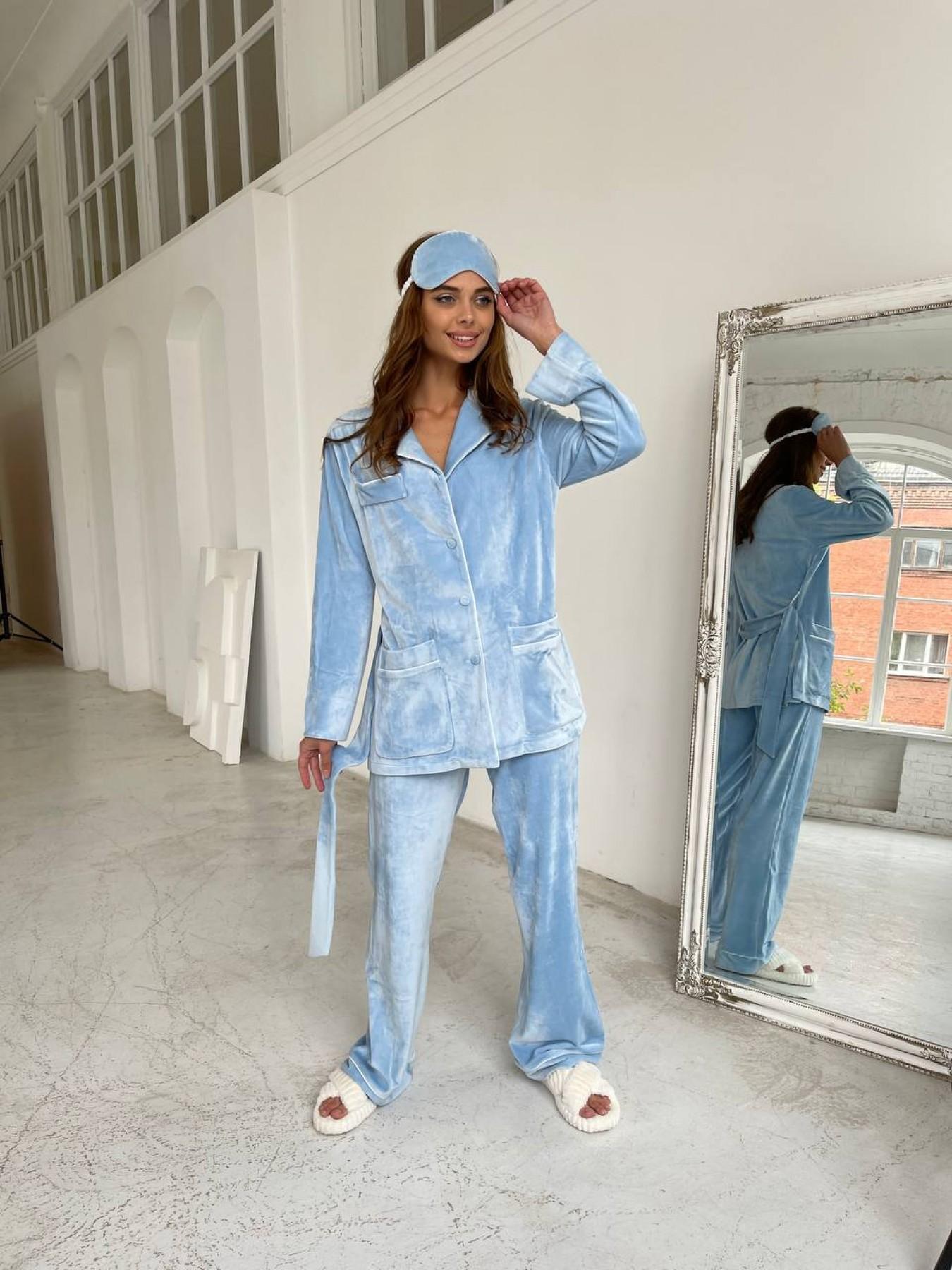 Шайн пижама велюр жакет брюки маска для сна 10353 АРТ. 46717 Цвет: Голубой - фото 4, интернет магазин tm-modus.ru