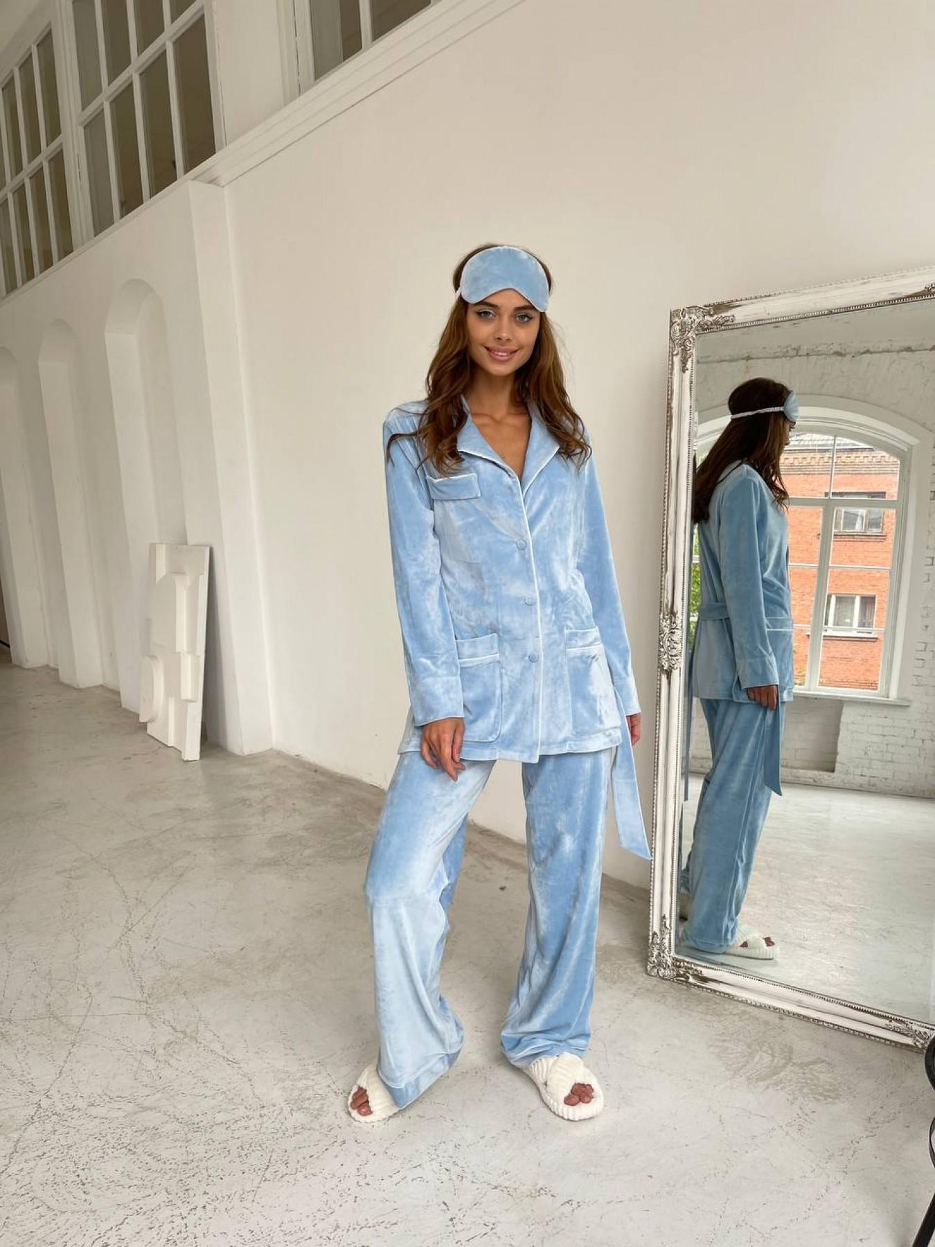 Шайн пижама велюр жакет брюки маска для сна 10353 АРТ. 46717 Цвет: Голубой - фото 5, интернет магазин tm-modus.ru