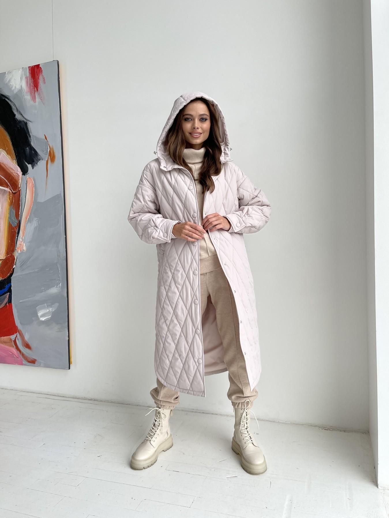 Пазл миди стеганое пальто из плащевки 11778 АРТ. 48690 Цвет: Бежевый 970 - фото 1, интернет магазин tm-modus.ru