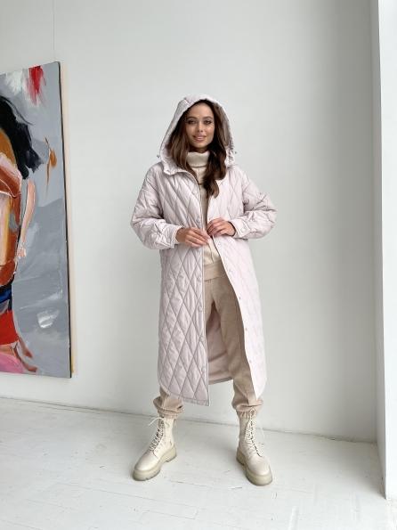 """Купить """"Пазл миди"""" стеганое пальто из плащевки 11778 оптом и в розницу"""