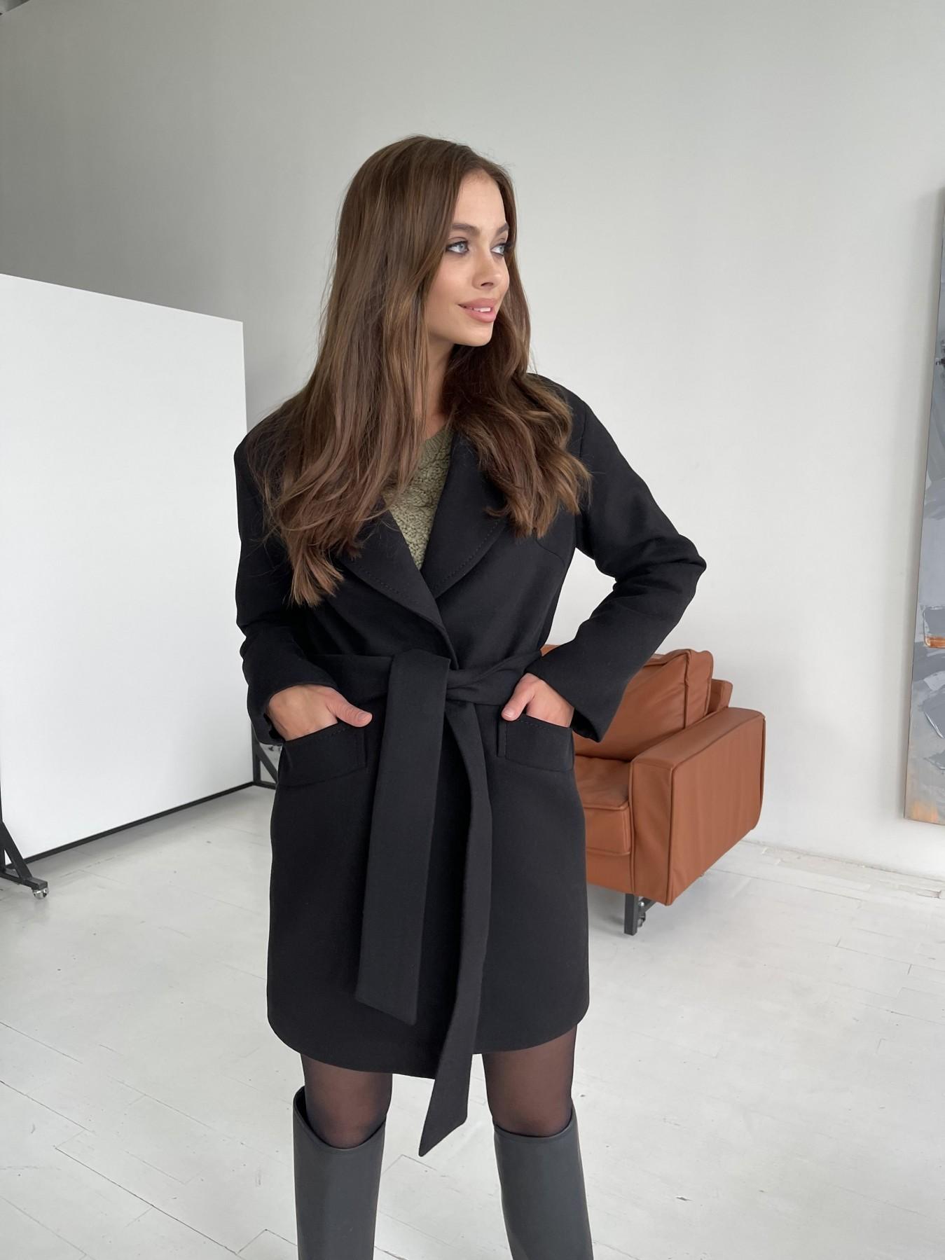 Вейсона пальто из гладкого кашемира 11803 АРТ. 48555 Цвет: Черный - фото 1, интернет магазин tm-modus.ru
