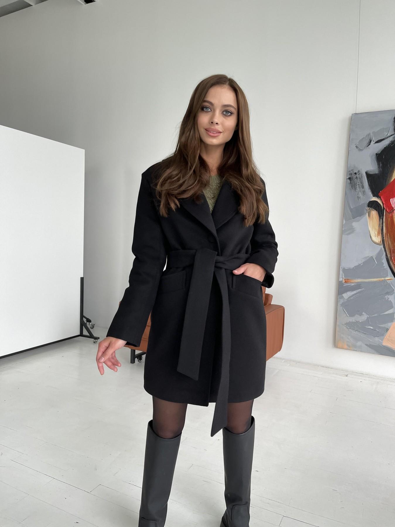 Вейсона пальто из гладкого кашемира 11803 АРТ. 48555 Цвет: Черный - фото 2, интернет магазин tm-modus.ru