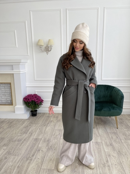 """Купить """"Сенсей макси"""" удлиненное зимнее пальто из кашемира 11893 оптом и в розницу"""